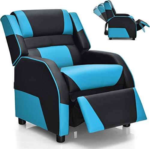 high quality Giantex Kids Recliner, outlet sale Kids/Youth Gaming Recliner Chair, Racing Style Game Sofa with Headrest and Lumbar Support, Ergonomic PU Leather online sale Armchair Lounge Chair for Living & Gaming Room (Blue) online sale
