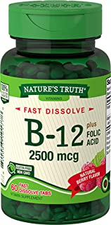 Nature's Truth Vitamin B-12 2500 mcg plus Folic Acid Fast Dissolve Tabs Natural Berry Flavor - 60 ct