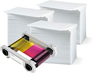 Evolis R5F008AAA Color Ribbon - YMCKO - 300 Prints with Bodno Premium CR80 30 Mil Graphic Quality PVC Cards - Qty 300