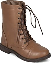 Alrisco Women Leatherette Lace Up Low Stack Heel Combat Boot - IB40