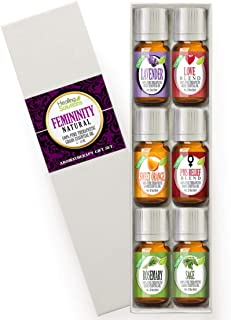 Natural Femininity Set 100% Pure, Best Therapeutic Grade Essential Oil Kit - 6/10mL (Lavender, Love Blend, Sweet Orange, PMS Relief Blend, Rosemary, and Sage)