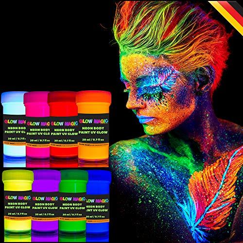 individuall UV Bodypainting Farbset | Schwarzlicht Schminke & Körperfarben | 8 x 20 ml Leuchtfarben von Glow Magic