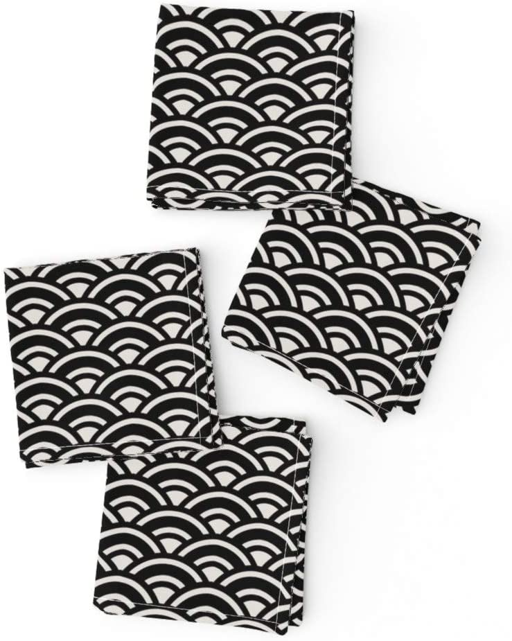 Roostery Cloth Max 82% OFF 5 ☆ popular Cocktail Napkins Art Deco Black Whit Scallop Arc