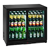 Royal Catering RCGK-208C Nevera Expositora de Bebidas Frigorifico Minibar Nevera para Bebidas Botellas Refrigerador (208 L, 2–10 °C, 175 W, 53x90x83,5 cm) Negro