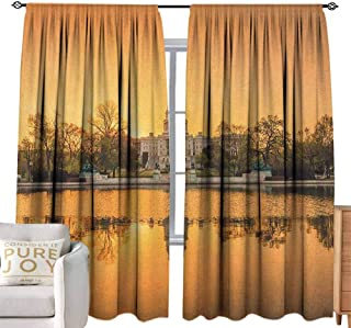 Andrea Sam Kitchen Curtains United States,Washington DC American Capital City White House Above The Lake Landscape, Apricot Ginger for Living Room,W120 x L96 inch