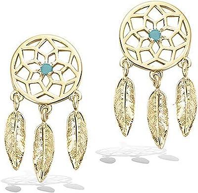 Orecchini placcati oro e pietra turchese, motivo acchiappasogni, traforati filigrana, sacchetto regalo in velluto in omaggio