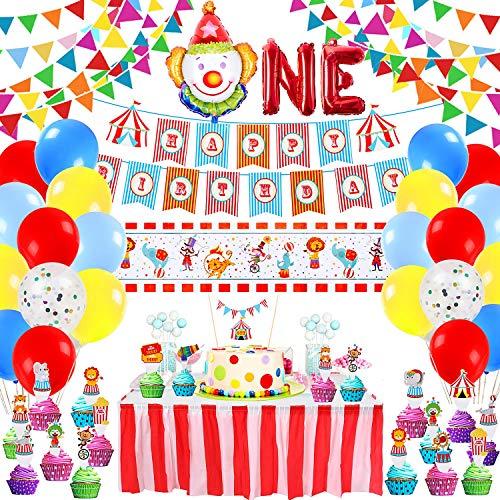 Tacobear Zirkus Party Deko Karneval Dekoration Deko Geburtstag Mit Clown Luftballons Geburtstag Banner Tischdecke Kuchen Party Zubehör 1. Geburtstag Junge Baby Party Deko Zubehör für Junge