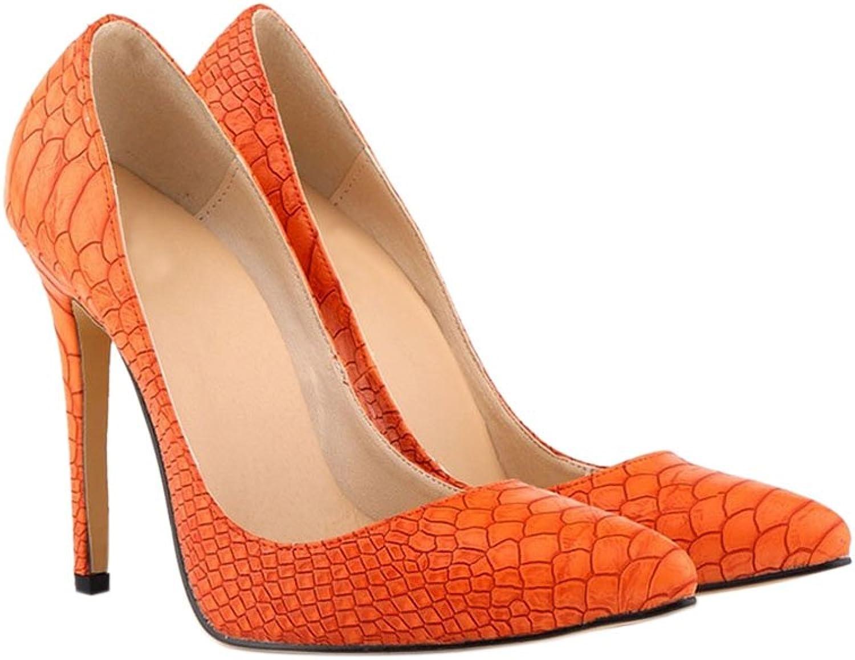 Meijunter Womens Snake Skin Leopard 11CM High Heels Stilettos Pointed Pumps shoes orange