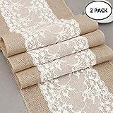 2 STK Jute Tischläufer mit Spitze 30 cm breit Sackleinen Vintage Tischband für rustikale Hochzeit Fest Party Feier Bevorzugte Dekorationen