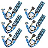 Ubit 【6 Pack PCIE Riser Cable 1X to 16X Graphics Extension Ethereum ETH Mining Powered Riser Adapter Card + 60 cm USB 3.0 Cable