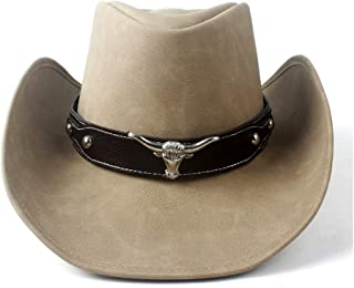 SHENTIANWEI Men Women Leather Cowboy Hat Bull Head Leather Band Decor Wide Brim Jazz Cap