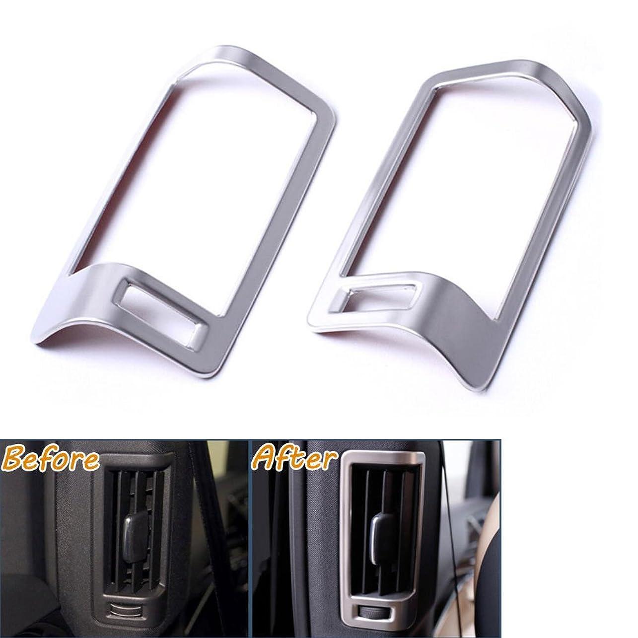 退却マオリ雑草Jicorzo - 2Pcs B Pillar AC Vent Outlet Frame Moulding Cover Trims Stainless Fit For 2016 VOLVO XC90