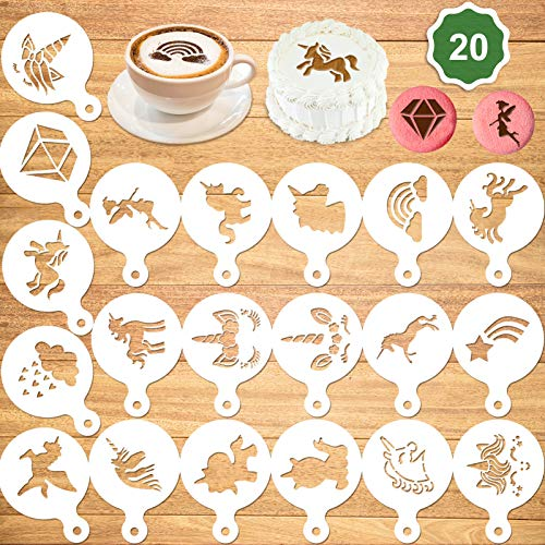 Konsait 20Pack Unicorn Cake Stencil Templates Decoration, Reusable Unicorn Cake Cookies Baking Painting Mold Tools, Dessert, Coffee Decorating Molds Cappuccino Mousse Hot Chocolate for DIY Craft Decor