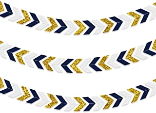 NICROLANDEE 3pcs Nautical Party Decorations Navy Blue Paper Arrow Banner  Garland Gold Glitter Chevron Design Tribal 211fdaeb8fbb