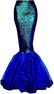 Womens Sexy Mermaid Halloween Costume Fancy Party Sequins Maxi Dress Tail Skirt