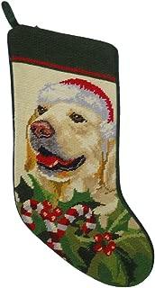 Peking Handicraft Golden Retriever Dog Wool Needlepoint Christmas Stocking
