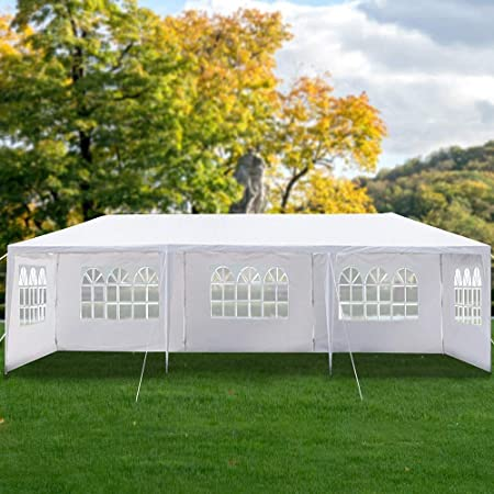2Pcs, 3x3m, White Gazebo Panels Replacement Wedding Garden Party Bench Courtyard Tent Sides with Windows Waterproof /& UV Protector Canopy Sail