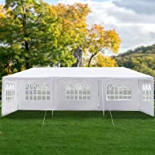 Heavy Duty Canopy Event Tent-10'x30' Outdoor White Gazebo Party Wedding Tent, Sturdy Steel Frame Shelter w/5 Removable Sid...