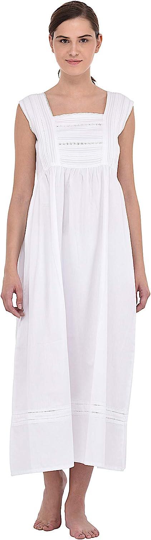 Cotton Lane White Cotton Classic Sleeveless Nightdress