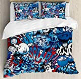 Ambesonne Modern Duvet Cover Set, Teenager Style Image Street Wall Graffiti Graphic Colorful Design Artwork Print, Decorative 3 Piece Bedding Set with 2 Pillow Shams, Queen Size, Pale Blue