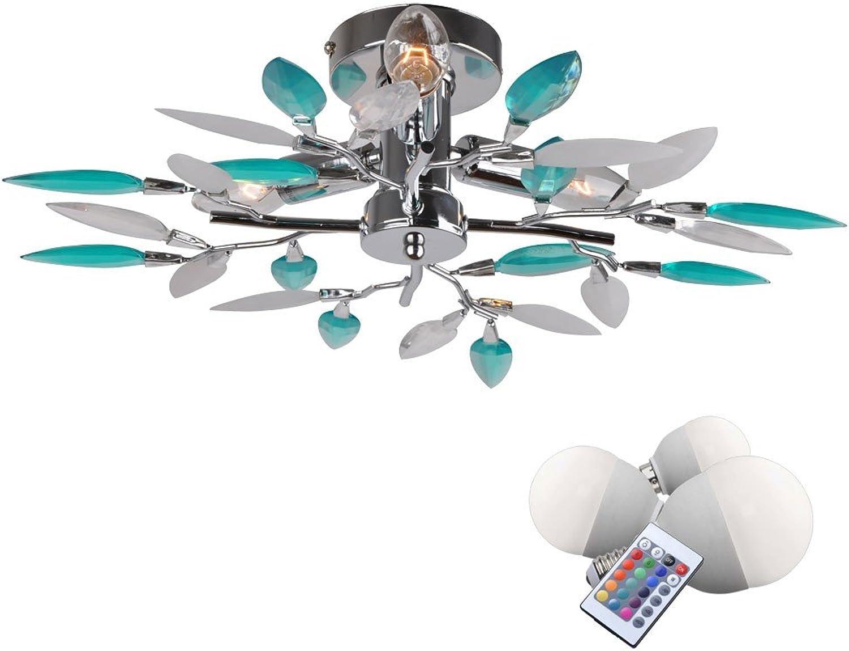 10,5 Watt RGB LED Decken Leuchte Acryl Bltter Lampe dimmbar Chrom Beleuchtung