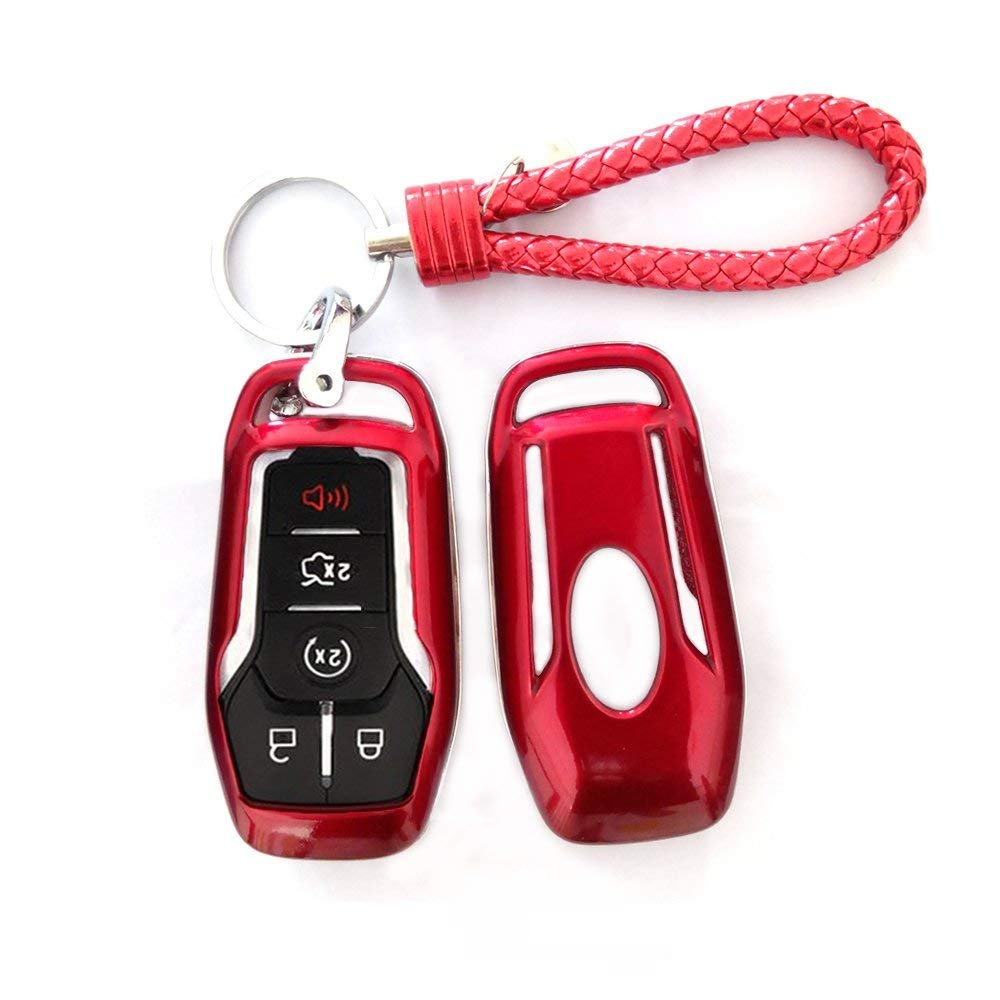 Rose Red Thor-Ind ABS Car Key Fob Case Cover Key Chain for Ford Taurus Mustang F-150 F-450 Explorer Fusion Edge Lincoln MKC MKZ MKX 4//5-Button Smart Key Glossy Plastic Protective Shell