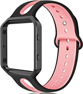 ZUKVYE Compatible with Fitbit Blaze Bands Small and Large Silicone Replacement Band Strap with Stainless Steel Frame for Fit bit Blaze Smart Watch Women Men (Black + Pink Small )
