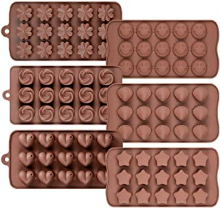 AVMARK Silicone Chocolate Moulds in 6 Different Shape Heart, Star, Flower, Smiley, Rose and Shell Shape (6 pcs Set)