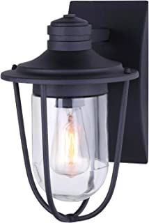 NOMA Outdoor Wall Lantern | Waterproof Outdoor Down-Facing Exterior Light for Front Door, Backyard, Garage, Patio or Décor | Black Finish with Clear Glass Shade