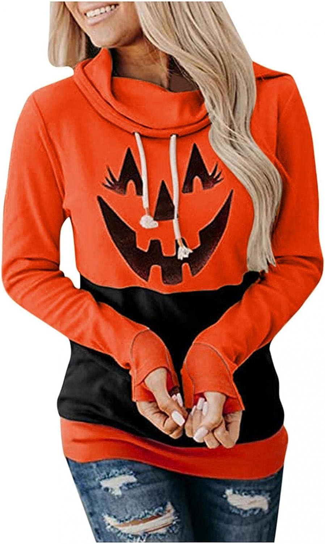Hoodies for Women,Womens Halloween Pumpkin Printed Sweatshirts Cowl Neck Long Sleeve Hoodie Pullover Tops