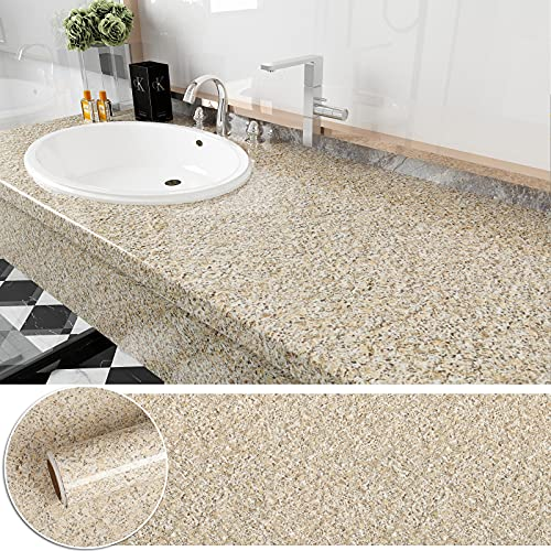 CHICHOME 30x118 Inch Brown Granite Contact Paper Peel and Stick Terrazzo Contact...