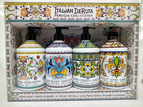 Combo Set 4, Italian Deruta Hand Soap Collection 21.5 FL OZ Each, lavender, lemon verbena, sweet orange & olive thyme