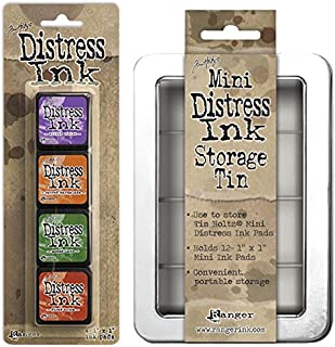 SPECIAL BUNDLE Includes: Ranger Tim Holtz Mini Distress Ink Pads Kit #15 PLUS Distress Mini Ink Storage Tin