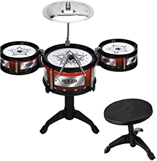 HALO NATION Portable Jazz Drum Set Musical Instrument for Kids with 3 Tom-Tom Drum and 1 Stool for Kids 3 to 8 Year (Mini Jazz Drum Set with Stool - 19 Inch Height)
