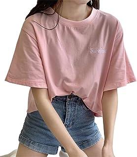 [ユリカー] Tシャツ レディース 半袖 トップス ゆったり シンプル 上着 夏 薄手 無地 ファション 通勤 通学 韓国風 可愛い