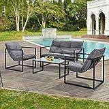 Salon de Jardin Table Basse avec Canapé et Chaises Extérieures en Acier avec Coussins Oléfines et Plateau de Table en Verre Noir Gris