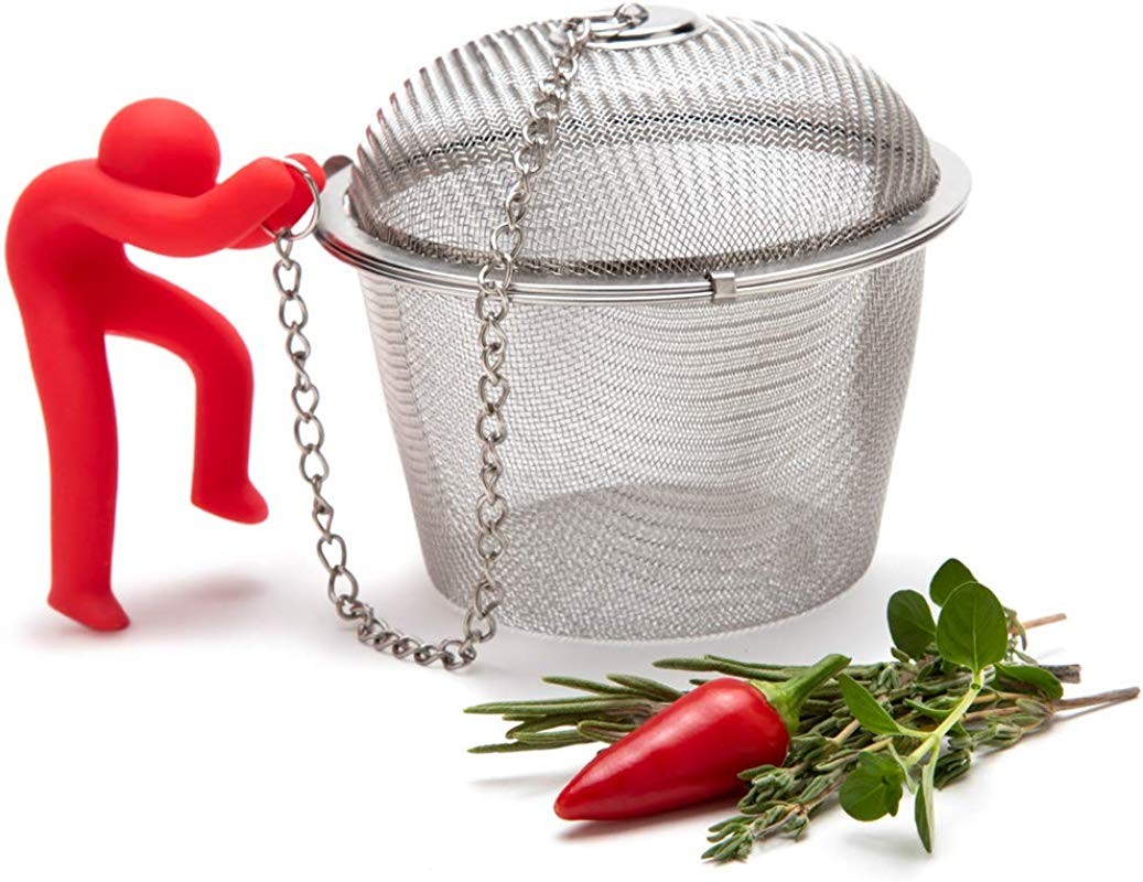 Hike Mike Stainless Steel Mesh Ball Infuser For Herbs And Spices Tea Strainer Spice Ball With Silicone Anchor