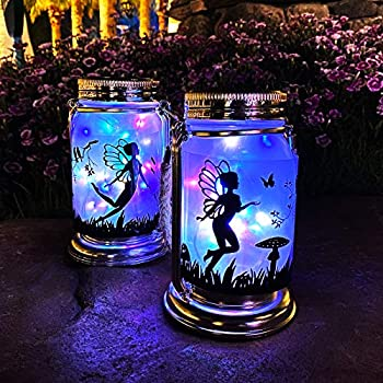 Vcdsoy Solar Fairy Lantern Mason Jar Colorful Light- 2 Pack Ourdoor Fairies Decorations Gifts Hanging Lamp Frosted Glass Jar with Stake for Yard Garden Patio Lawn