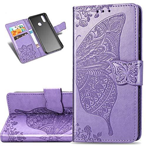 COTDINFOR Etui für Motorola Moto E6 Plus Hülle PU Leder Schutzhülle Magnet Tasche Flip Handytasche im Bookstyle Kartenfächer Lederhülle für Motorola Moto E6 Plus Flower Butterfly Light Purple SD