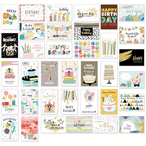 36 Geburtstagskarten set mit umschlag, Geburtstagskarte Grusskarte Glückwunschkarte geburtstagskarten für kinder, 36 Designs Premium Grusskarte zum Geburtstag Klappkarten mit Briefumschlag