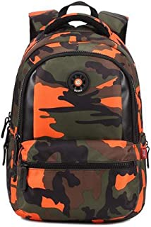 Camouflage Design Children Student School Bag Backpack Teen Girls Boys Bookbag Outdoor Daypack (Orange)