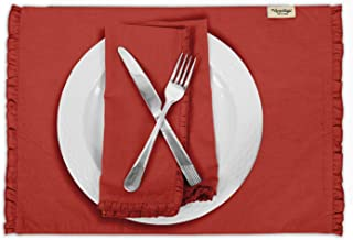 Vargottam Red Home Décor Cotton Flex Table Decor Reversible Dining Table Frill Placemats Set-Set of 6