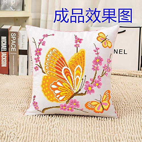 Cute Happiness Cross Stitch Pillow Love Hand Embroidered Square Pillow Case@Butterfly [yellow] single pillowcase with pillow core