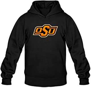 EVALY Men's Unique Oklahoma State University Logo Drawstring Hoodie Black