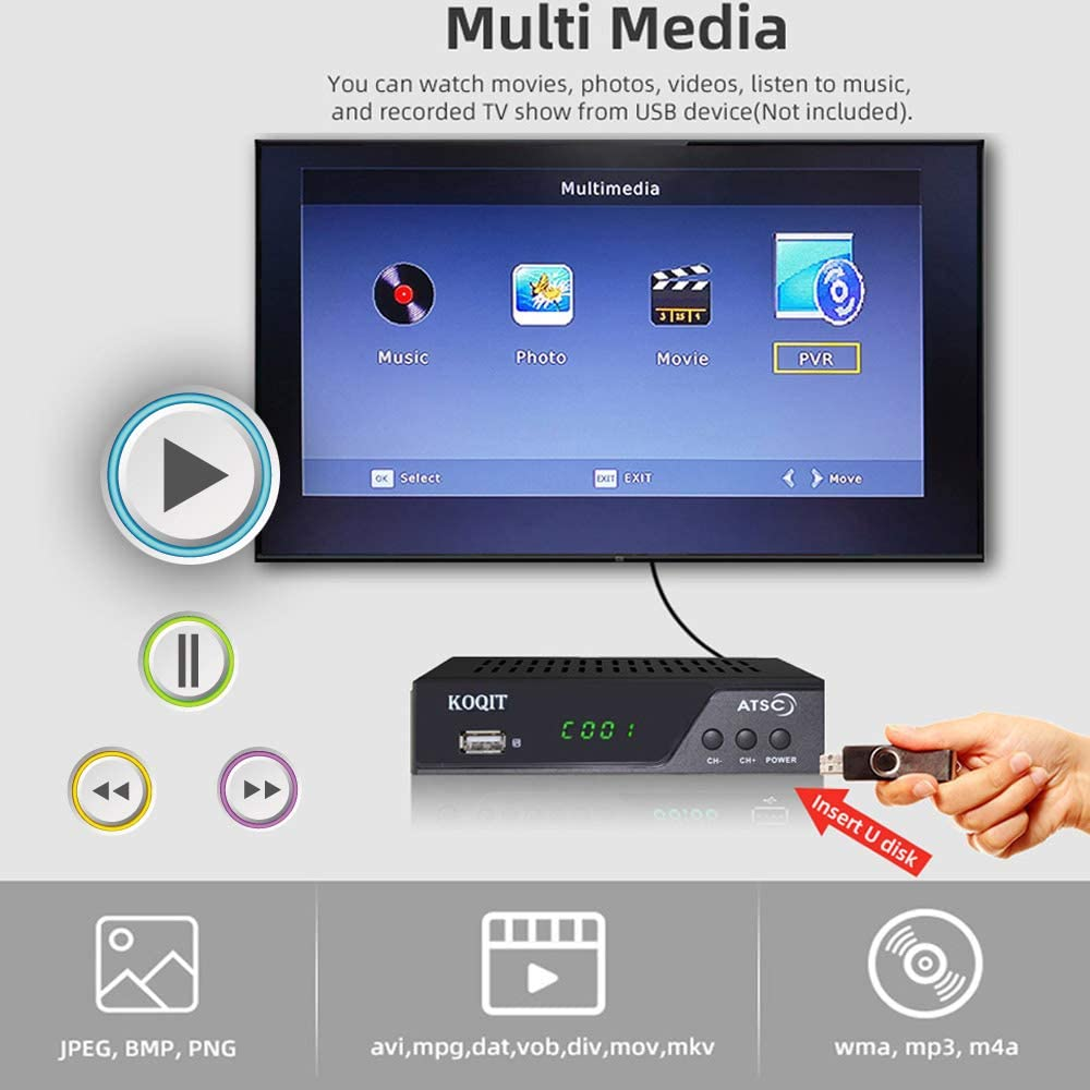 Koqit Atsc Tuner Converter Box with PVR Recorder for tv Media Player Built-in Analog to Digital tv Converter Box Clear QAM Tuner Free Cable Box OTA Broadcast Channel