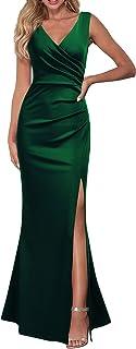 Sponsored Ad - WOOSEA Women Sleeveless V Neck Split Evening Cocktail Long Dress