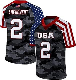 Custom 2nd Amendment Football Jersey USA Flag Style Breathable and Dry(Small-XXXXL)