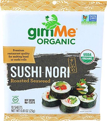gimMe Snacks - Organic Roasted Seaweed - Sushi Nori - 0.81 Ounce - (Pack of 12) - non GMO, Gluten Free, Keto, Paleo