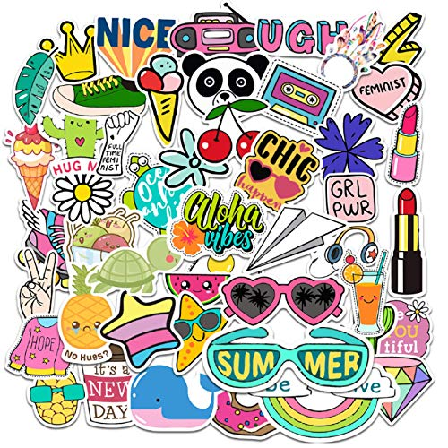 ZJJHX Pegatinas pequeñas Frescas de Dibujos Animados Bonitos, Taza de Agua, Casco, Cuaderno, Pegatinas para Maleta, Pegatinas Impermeables para Maletas, 50 Hojas