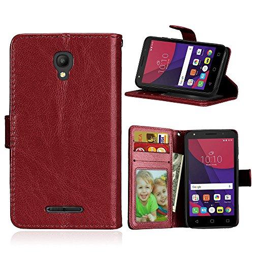Handy Kasten für Alcatel Pixi First (4.0) OT4024D 4027D,Bookstyle 3 Card Slot PU Leder Hülle Interner Schutz Schutzhülle Handy Taschen-Braun